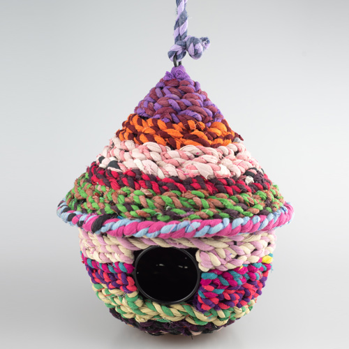 recycled fabric birdhouse