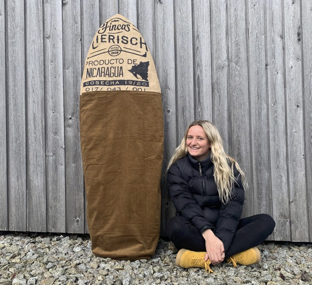upcycled surf board bag with maker